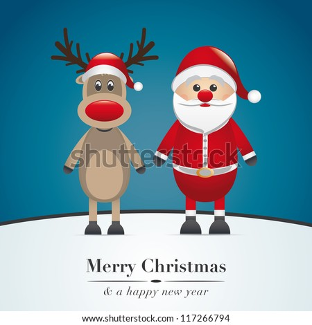 reindeer red nose and santa claus - stock vector