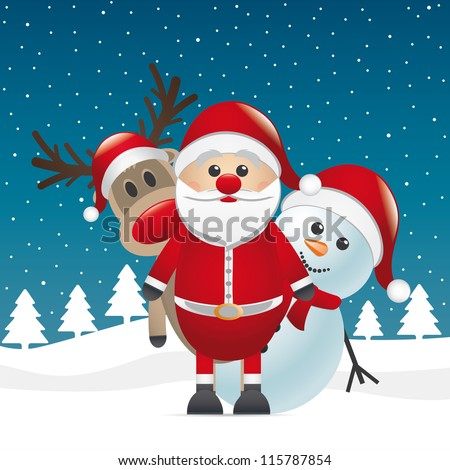 reindeer red nose land snowman santa claus - stock vector