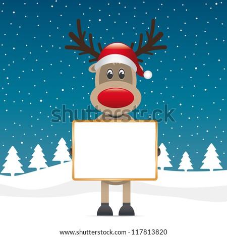 reindeer santa hat hold billboard winter landscape - stock vector