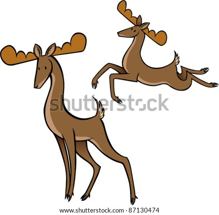 reindeer standing and jumping - stock vector