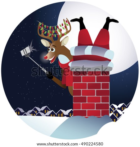 Reindeer takes a selfie with Santa Claus stuck in the chimney. EPS 10 vector,.