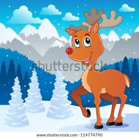 Reindeer theme image 4 - vector illustration. - stock vector