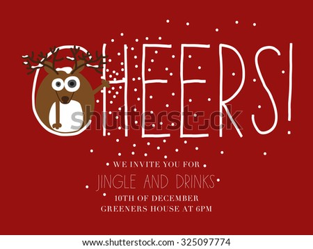 Reindeer throwing snowflakes standing in the sign written cheers. Christmas invitation card. Vector and illustration design.  - stock vector