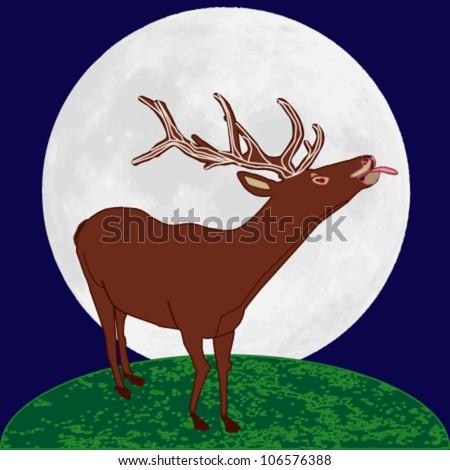 Reindeer thrusting tongue in the moonlight - stock vector