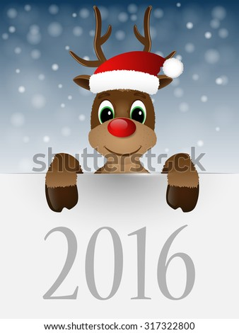 Reindeer with red nose and Santa hat. Vector illustration.  - stock vector