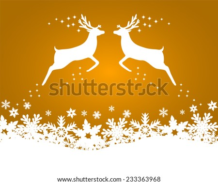 Reindeer with stars, snowflakes and glitter on a gold background  - stock vector