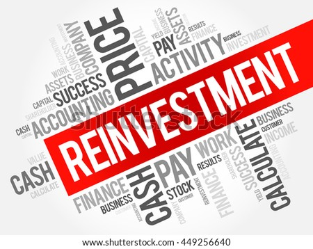 Reinvestment word cloud collage, business concept background - stock vector