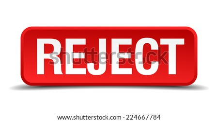 Reject red 3d square button isolated on white - stock vector