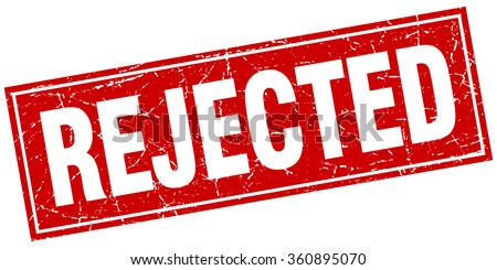rejected red square grunge stamp on white - stock vector