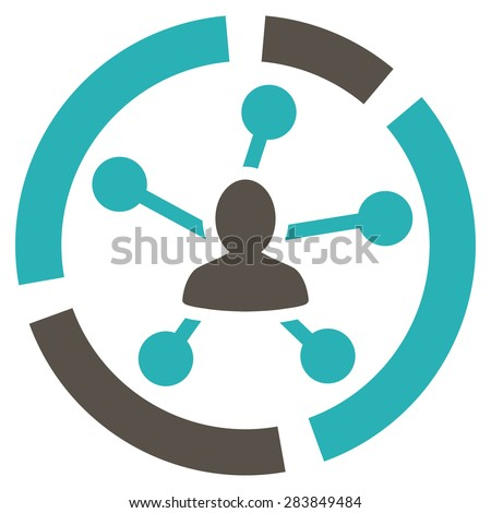 Relations diagram icon from Business Bicolor Set. Vector style: bicolor flat symbol, grey and cyan colors, rounded angles, white background. - stock vector