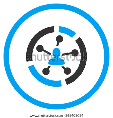 Relations Diagram vector icon. Style is bicolor flat circled symbol, blue and gray colors, rounded angles, white background. - stock vector
