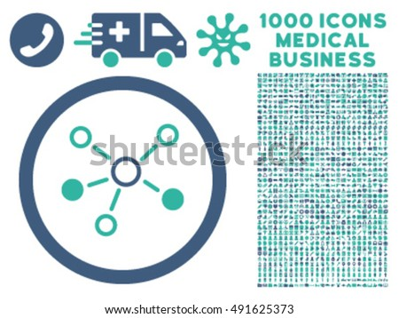 Relations icon with 1000 medical commerce cobalt and cyan vector design elements. Collection style is flat bicolor symbols, white background.