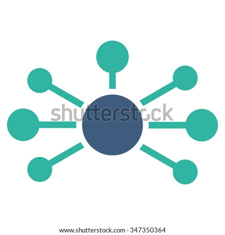 Relations vector icon. Style is bicolor flat symbol, cobalt and cyan colors, rounded angles, white background. - stock vector