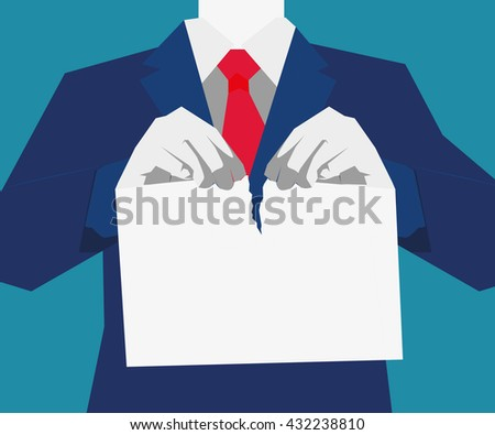 Relationship Difficulties, Separation, Torn, Currency, Tearing. Hand hold rejected paper document. Vector flat illustration - stock vector