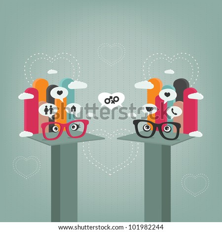 relationship thoughts - stock vector