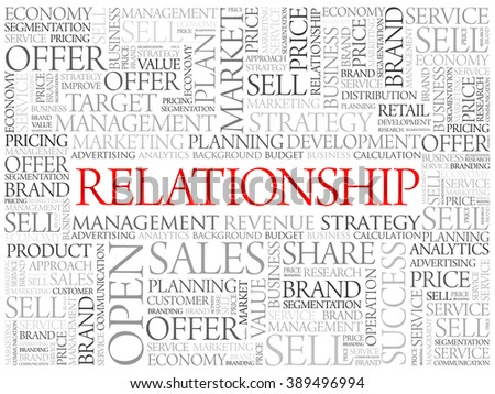 Relationship word cloud, business concept background - stock vector