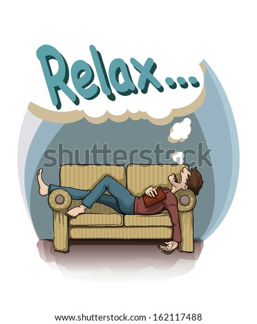 Relax, card with a man sleeping on a sofa, vector illustration - stock vector
