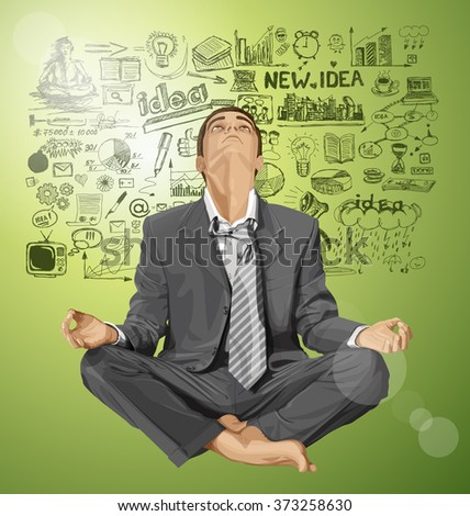 Relax concept. Vector businessman in lotus pose looking up, looking for idea, meditating - stock vector