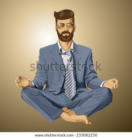 Relax concept. Vector hipster businessman in lotus pose meditating - stock vector