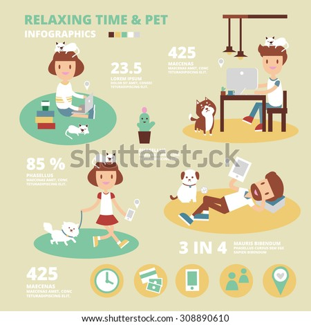 relax time and pet infographics - stock vector