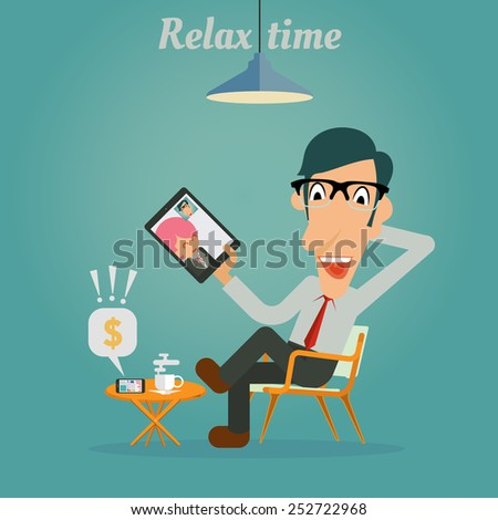 Relax time for Businessman - stock vector