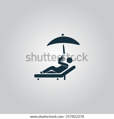 Relax under an umbrella on a lounger. Flat web icon, sign or button isolated on grey background. Collection modern trend concept design style vector illustration symbol - stock vector
