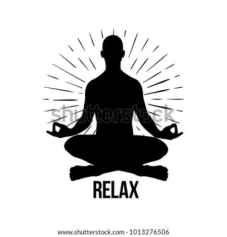 Vector Meditation Man Yoga Pose Silhouette Of