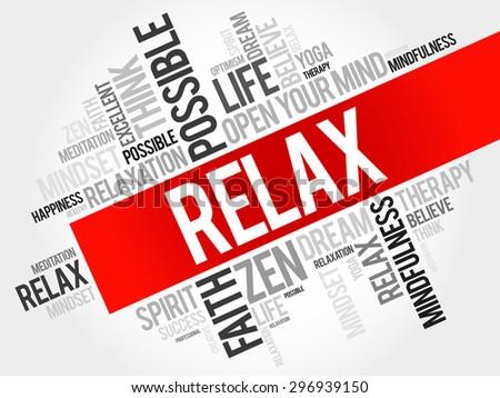 Relax word cloud concept - stock vector