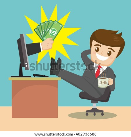 relaxing  businessman drink coffee  with money computer, vector  illustration