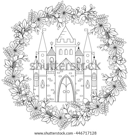 Relaxing coloring page with fairy castle in forest wreath for kids and adult, art therapy, meditation coloring book vector illustration, printable sheet. Fairyland fantasy castle in black and white - stock vector