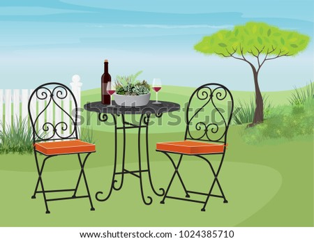 beautiful relaxing furniture. Relaxing garden lawn with a bistro table and chairs  Relax glass of wine Garden Lawn Bistro Table Chairs Stock Vector 1024385710