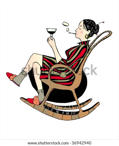 Relaxing girl with glass of wine and cigarette in armchair