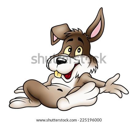 Relaxing Rabbit - Cartoon Illustration, Vector - stock vector