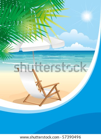 Relaxing scene on a breezy day at the tropical beach; deck chair and umbrella - stock vector