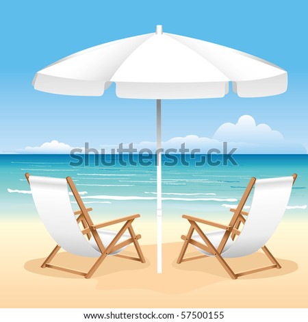 Relaxing scene on a breezy day at the tropical beach; two deck chair and umbrella - stock vector