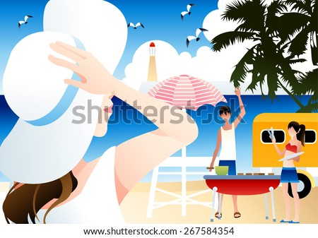 Relaxing Summer Holiday - cute boy and girl greet lovely friend, cook out, enjoy lifestyle in paradise island on the vacation season on a background of bright blue sky and water : vector illustration - stock vector