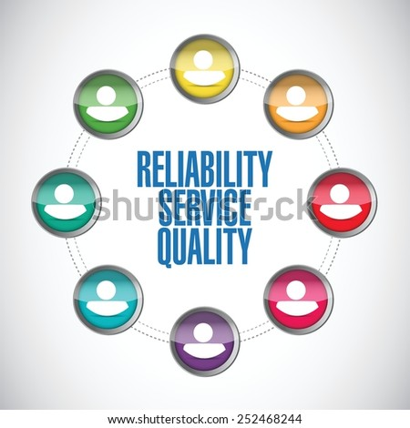 reliability service quality people network illustration design over a white background - stock vector