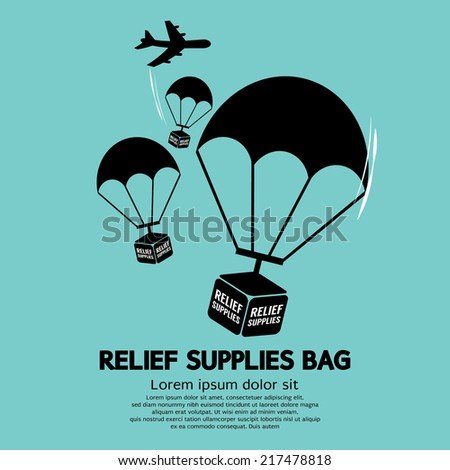 Relief Supplies Bag With Parachutes Vector Illustration - stock vector