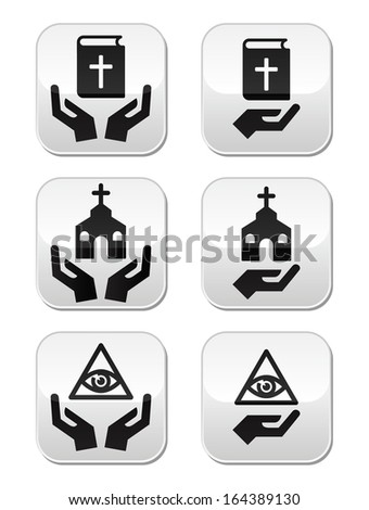 Religion buttons - hands with bible, church, eye of god - stock vector