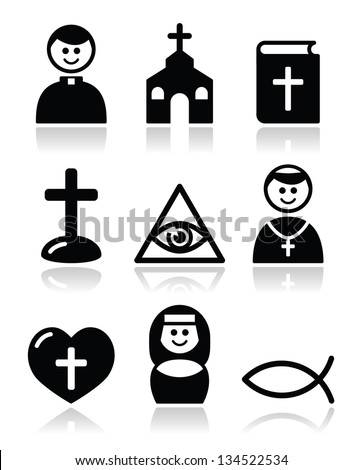 Religion, catholic church vector icons set - stock vector