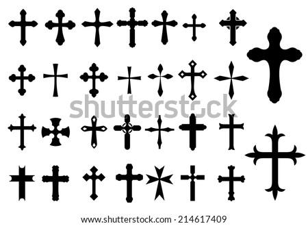 Religion Cross Christianity Symbols Set Isolated Stock Vector