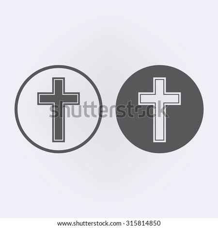 Religion cross icon in circle . Vector illustration - stock vector