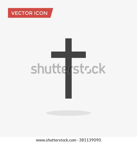 Religion Cross Icon in flat style isolated on grey background. Vector illustration, EPS10. - stock vector