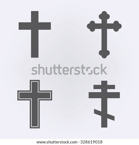 Religion cross icon set . Vector illustration