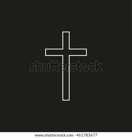 religion cross line icon isolated on black background. Modern flat pictogram, business, marketing, internet concept. Simple vector symbol for web site design or button to mobile app. Logo illustration