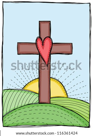 Religion - cross with heart, hills and sun illustration - stock vector
