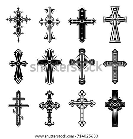 Religion Crosses Isolated Symbol Christian Catholic Stock Vector