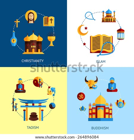 Religion design concept set with christianity islam taoism buddhism flat icons isolated vector illustration - stock vector