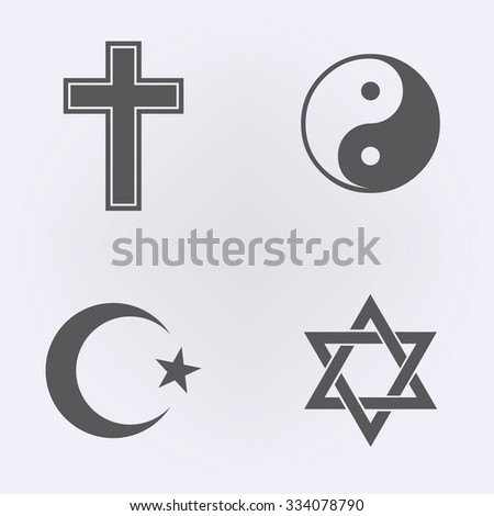 Religion Icon set . Vector illustration - stock vector