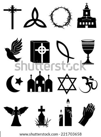 Religion Icons Set - stock vector